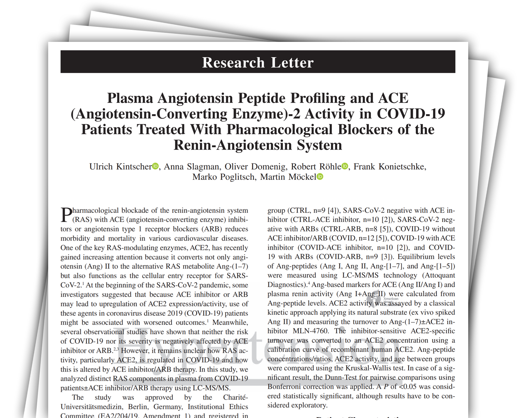 Plasma Angiotensin Peptide Profiling and ACE (Angiotensin-Converting Enzyme)-2 Activity in COVID-19 Patients Treated With Pharmacological Blockers of the Renin-Angiotensin System